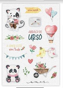 Adesivos Amor Infinito -  Abraço de Urso - Juju Scrapbook