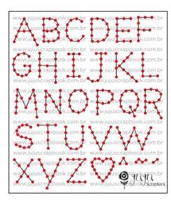 Gabarito de costura Alfabeto -  Abraço de Urso - Juju Scrapbook