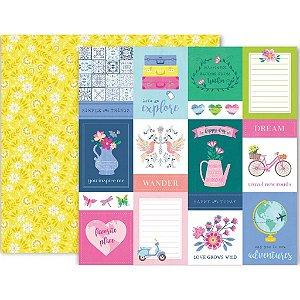 Papel para scrapbook - 30x30 - Dupla Face - 01 - Horizon - Pink Paislee - American Crafts