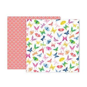 Papel para scrapbook - 30x30 - Dupla Face - 07 - Horizon - Pink Paislee - American Crafts