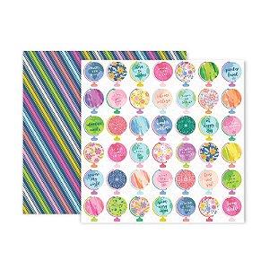 Papel para scrapbook - 30x30 - Dupla Face - 11 - Horizon - Pink Paislee - American Crafts