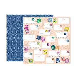 Papel para scrapbook - 30x30 - Dupla Face - 22 - Horizon - Pink Paislee - American Crafts