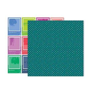 Papel para scrapbook - 30x30 - Dupla Face - 18 - Horizon - Pink Paislee - American Crafts