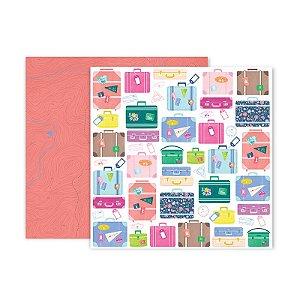 Papel para scrapbook - 30x30 - Dupla Face - 17 - Horizon - Pink Paislee - American Crafts