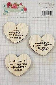 Cards de madeirinhas de coração  - Coleção You are my Home - Dany Peres