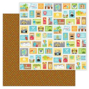 Papel de scrapbook 30x30 - Doodlebug - I Heart Travel - Scenic Spot