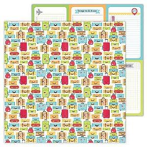 Papel de scrapbook 30x30 - Doodlebug - I Heart Travel - Vacation Time