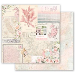 DUPLICADO - Papel para scrapbook - 30x30 Prima - Golden Coast Collection - Under The Palms (com Foil)