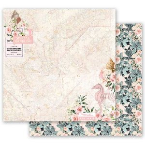 Papel para scrapbook - 30x30 Prima - Golden Coast Collection - Golden Heart  (com Foil)