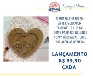 Álbum em chipboard - Love - Art Montagem