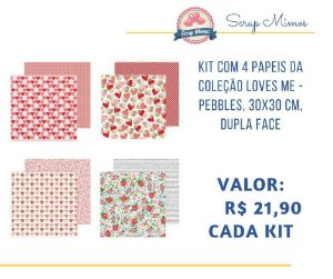 Kit com 04 papeis de scrapbook - 30x30 - dupla face - Coleção Loves Me - Pebbles