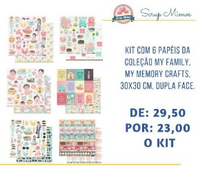 Kit com 06 papeis de scrapbook 30x30 - Dupla Face - Coleção My Family - My Memories Crafts
