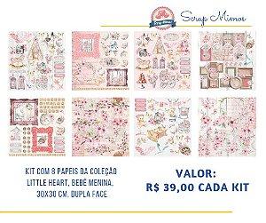 Kit com 08 papeis de scrapbook - 30x30 - Coleção Little Heart - Bebê Menina - Carina Sartor
