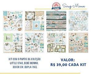 Kit com 08 papeis de scrapbook - 30x30 - Coleção Little Star - Bebê Menino - Carina Sartor