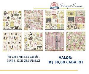 Kit com 08 papeis de scrapbook - 30x30 - Coleção Sewing - Carina Sartor