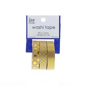 Washi tape com 03 rolos - Detalhes em foil - chevron, bolinhas e ondas - Love Nicole