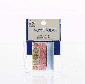 Washi tape com 03 rolos - Donuts, listras e confetes - Love Nicole