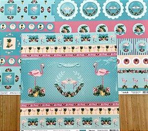Kit de 03 papeis de scrapbook 30x30 - Dupla Face - Flamingos - TEC