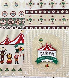 Kit de 04 papeis de scrapbook 30x30 - Dupla Face - Circo - TEC