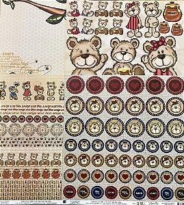 Kit de 04 papeis de scrapbook 30x30 - Dupla Face - Meu Amigo Urso - TEC