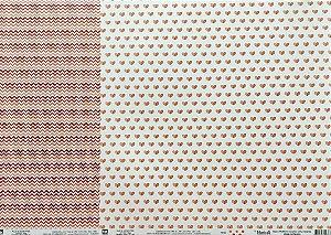Kit de 02 papeis de scrapbook 30x30 - Dupla Face - Basico Laranja - TEC