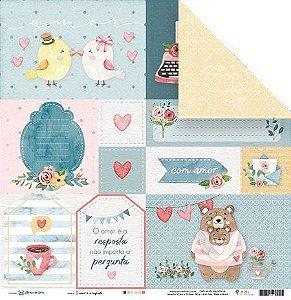 Papel para scrapbook - 30x30 - Dupla Face - O amor é a resposta - Abraço de Urso - Juju Scrapbook