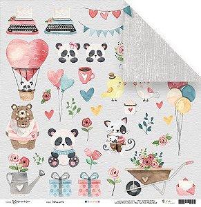 Papel para scrapbook - 30x30 - Dupla Face - Vamos Sorrir - Abraço de Urso - Juju Scrapbook