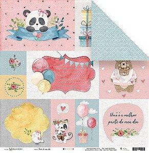 Papel para scrapbook - 30x30 - Dupla Face - Parte do meu dia - Abraço de Urso - Juju Scrapbook
