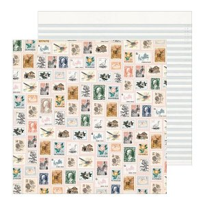 Papel para scrapbook - 30x30 - Dupla Face - Heritage - Postmarked - Maggie Holmes - Crate Paper
