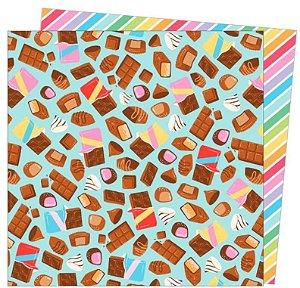 Papel para scrapbook - 30x30 - Dupla Face - Wild Card - Damask Love - Calories Don't Count- American Craft