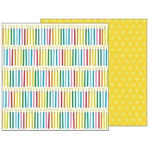 Papel para scrapbook - 30x30 - Dupla Face - Make a Wish -  Happy Hooray - Pebbles