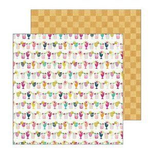 Papel para scrapbook - 30x30 - Dupla Face - Mocktails - Patio Party - American Crafts