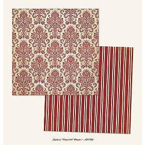 Papel para scrapbook - 30x30 - Dupla Face - Flourish - Joyous - MME