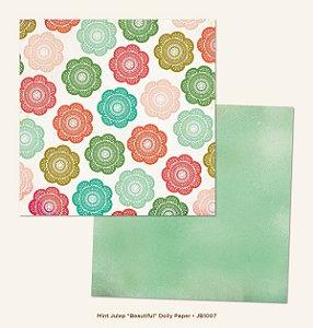 Papel para scrapbook - 30x30 - Dupla Face - Mint Julep - Beautiful - MME