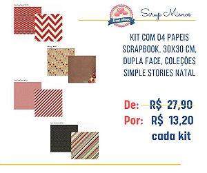 Kit com 04 papeis de scrapbook - 30x30 - Dupla Face - Natal - Simple Stories