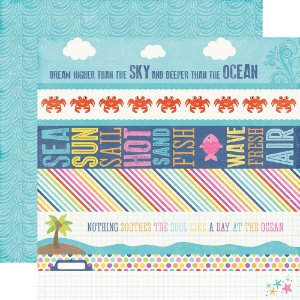 Papel para scrapbook - 30x30 - Dupla Face - Border Strips - Let's Be Mermaids - Echo Park