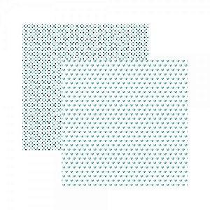 Papel para scrapbook - 30x30 - Dupla Face - Básico Multitons Corações e Poá Turquesa - TEC