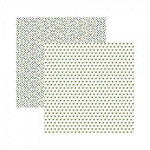 Papel para scrapbook - 30x30 - Dupla Face - Básico Multitons Corações e Poá Verde - TEC