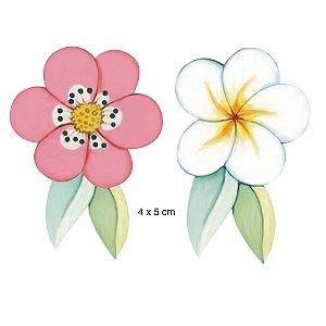 Apliques em MDF APM4-406 - 2 peças - Flores e folhas - Litoarte