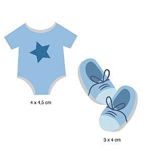 Aplique em MDF APM4-381 - 2 peças - Bebê menino - Litoarte