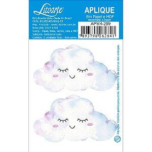 Aplique em MDF APM4-299 - 2 peças - Nuvens com sorriso - Litoarte