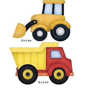 Aplique em MDF APM4-295 - 2 peças - Trator e caminhão - Litoarte