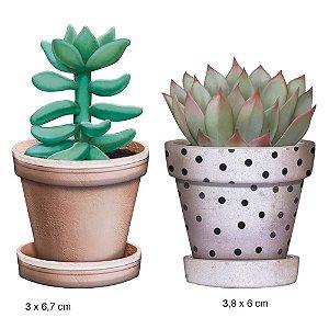 Aplique em MDF APM4-288 - 2 peças - Vasos suculentas- Litoarte