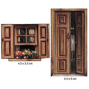 Aplique em MDF APM4-086 - 2 peças - Porta e janela - Litoarte