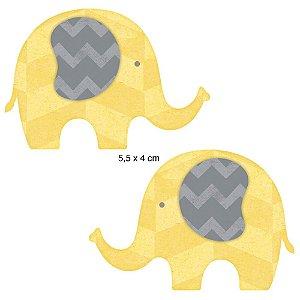 Aplique em MDF APM4-133 - 2 peças - Elefante Amarelo - Litoarte