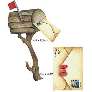 Aplique em MDF APM4-027 - 2 peças - Caixa de correio e carta - Litoarte
