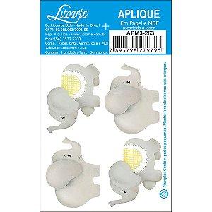 Apliques em MDF 4 elefantes detalhe amarelo APM3-263- Litoarte