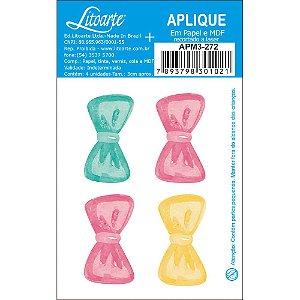 Apliques em MDF 4 lacinho candy APM3-272- Litoarte