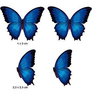 Apliques em MDF 4 borboletas azul escuro APM3-123- Litoarte