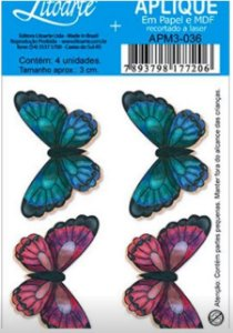 Apliques em MDF 4 borboletas APM3-036- Litoarte